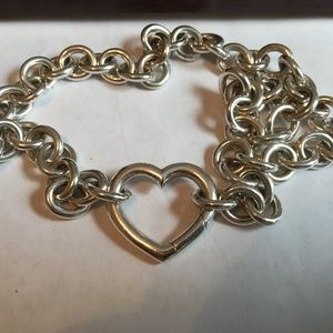 "Tiffany & Co SS 925 Open Heart Clasp 15"" Necklace"